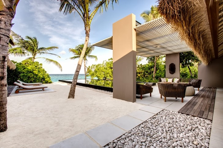 Terrace on the beach in Modern villa in Maldives by Jean-Michel Gathy