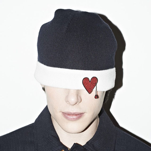heart patch beanie
