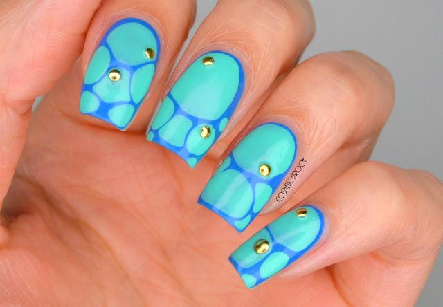 Turquoise Stone Blobbicure Nail Art