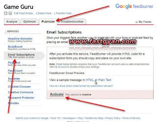 feedburner email subscriptions