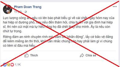 Kết quả hình ảnh cho Phạm Đoan Trang lợi dụng cái chết của hiệp sĩ đường phố