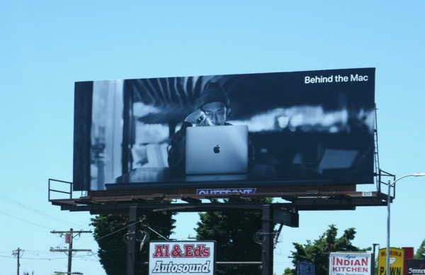 Behind the Mac billboard