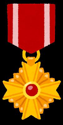 勲章・メダルのイラスト(赤)