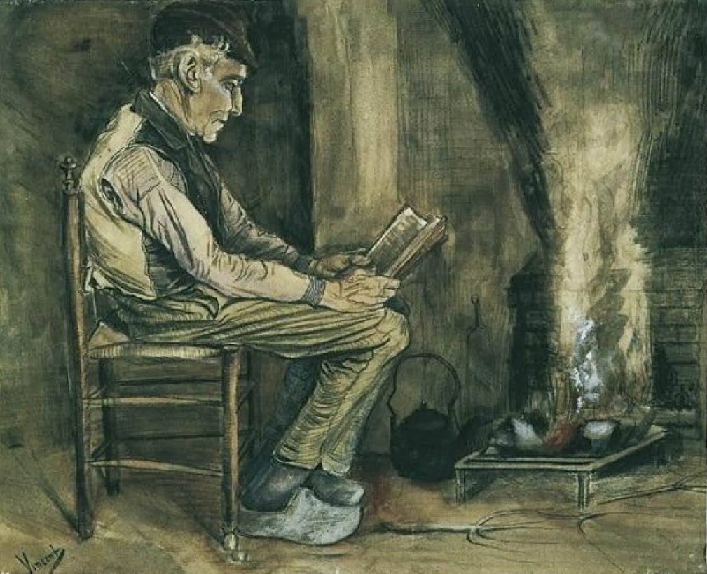 Vincent van Gogh - Farmer sitting at the fireside and reading, 1881