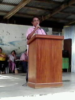 school principal giving his talk