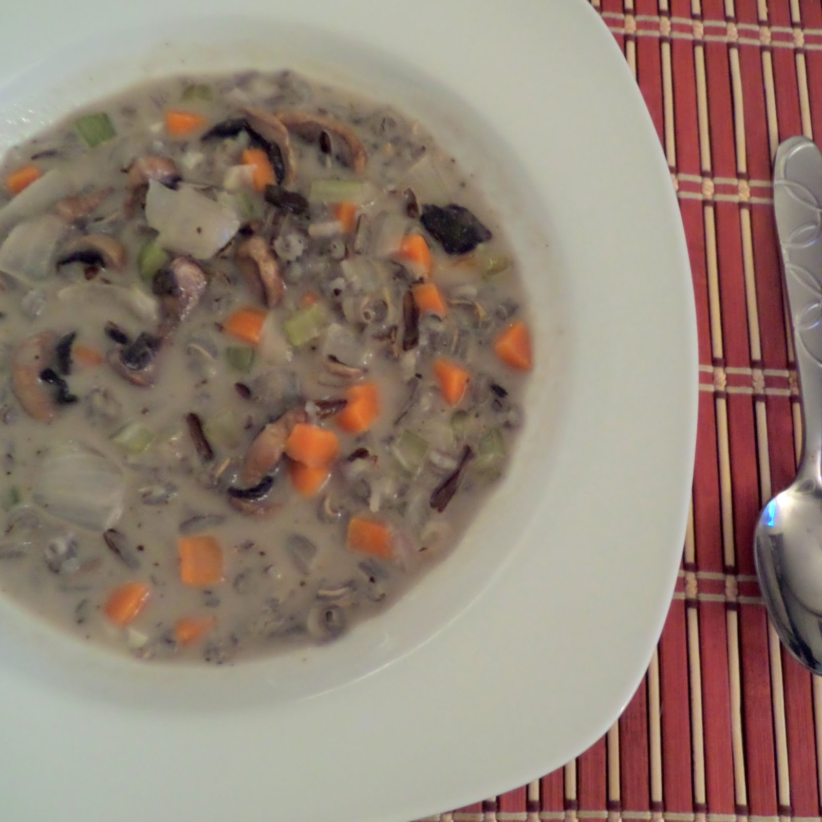 Mushroom and Wild Rice Soup:  A creamy, meatless, soup with mushrooms and wild rice.  It's warm comfort food for a cold night.