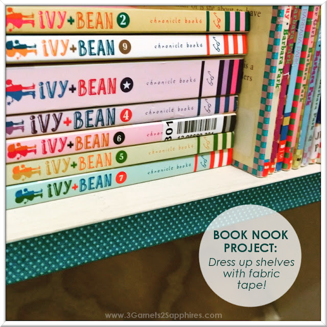 Dress up old shelves with fabric tape or washi tape!  |  www.3Garnets2Sapphires.com