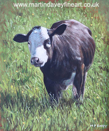 cow in grass oil painting