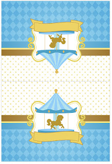 Carousel in Light Blue: Free Printable Candy Bar Labels.