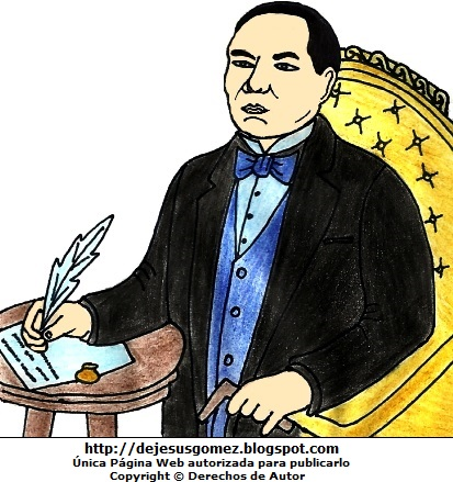 Dibujo de Benito Juárez escribiendo, imagen de Benito Juárez para niños. Dibujo de Benito Juárez hecho por Jesus Gómez