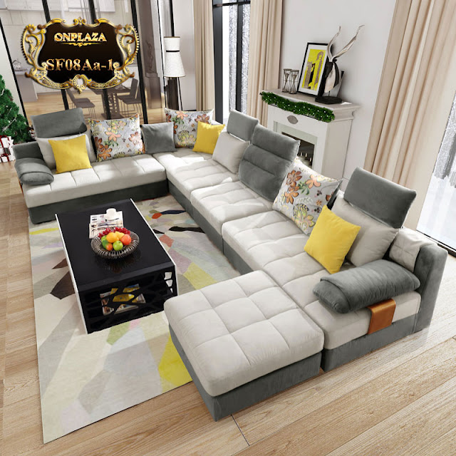 Bộ ghế sofa 5 món hiện đại bọc nhung cao cấp