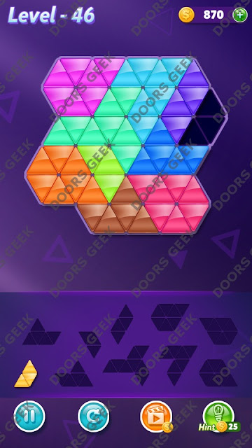 Block! Triangle Puzzle Master Level 46 Solution, Cheats, Walkthrough for Android, iPhone, iPad and iPod