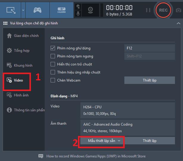 Cách thiết lập quay màn hình full HD với Bandicam