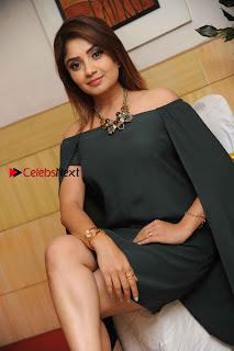 Kannada Actress Karunya Ram Stills in Strapless Green Short Dress at Eradu Kanasu Movie Press Meet  0004.jpg