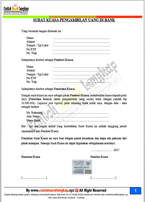Contoh Surat Kuasa Pengambilan Uang di Bank BNI, BRI, Mandiri, BCA, MEGA, BTN dan lainnya