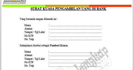 Recomended ↔ Contoh Surat Kuasa Pengambilan Uang di Bank doc