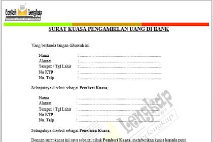 Recomended Contoh Surat Kuasa Pengambilan Uang Di Bank Doc