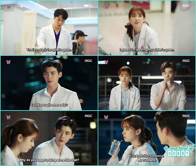 kang chul and yeon jo share the soju on the hospital rooftop - W - Episode 10 Review