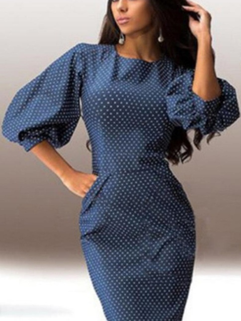 Boat Neck Polka Dot Bodycon Dress –Summer sale price:US$19.95