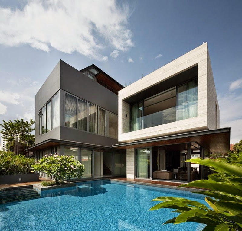 contemporary tropical house with pool