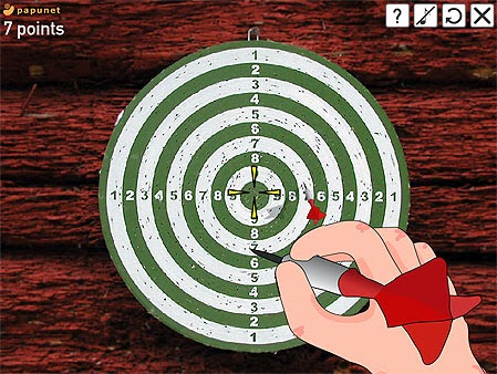 Papunet on-line Darts. Image of a dart board with 10 concentric circles numbered 1 from the outside to 10 in the bullseye. A cartoon hand wavers over the board holding a red dart.