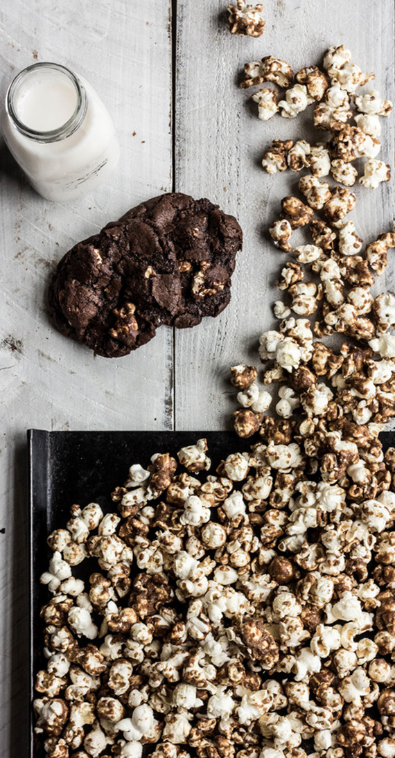 Chocolate caramel corn cookies recipe by The Whole Bite Blog