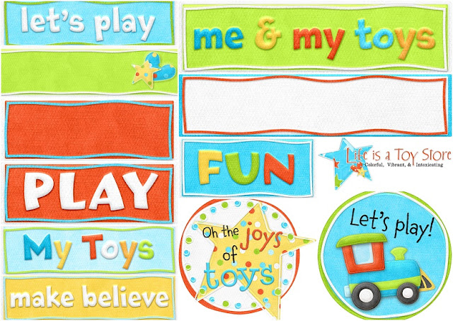 Signs, Borders and Frames of the Pretty Toy Store Clip Art.