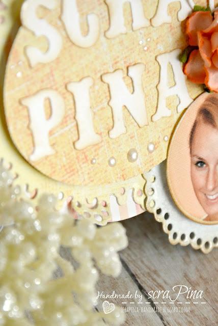 wyjątkowy delikatny kolorowy identyfikator ze zdjęciem na zloty ręcznie robiony scrapina handmade scrapbooking zlot craft wawa spotkania craftowe