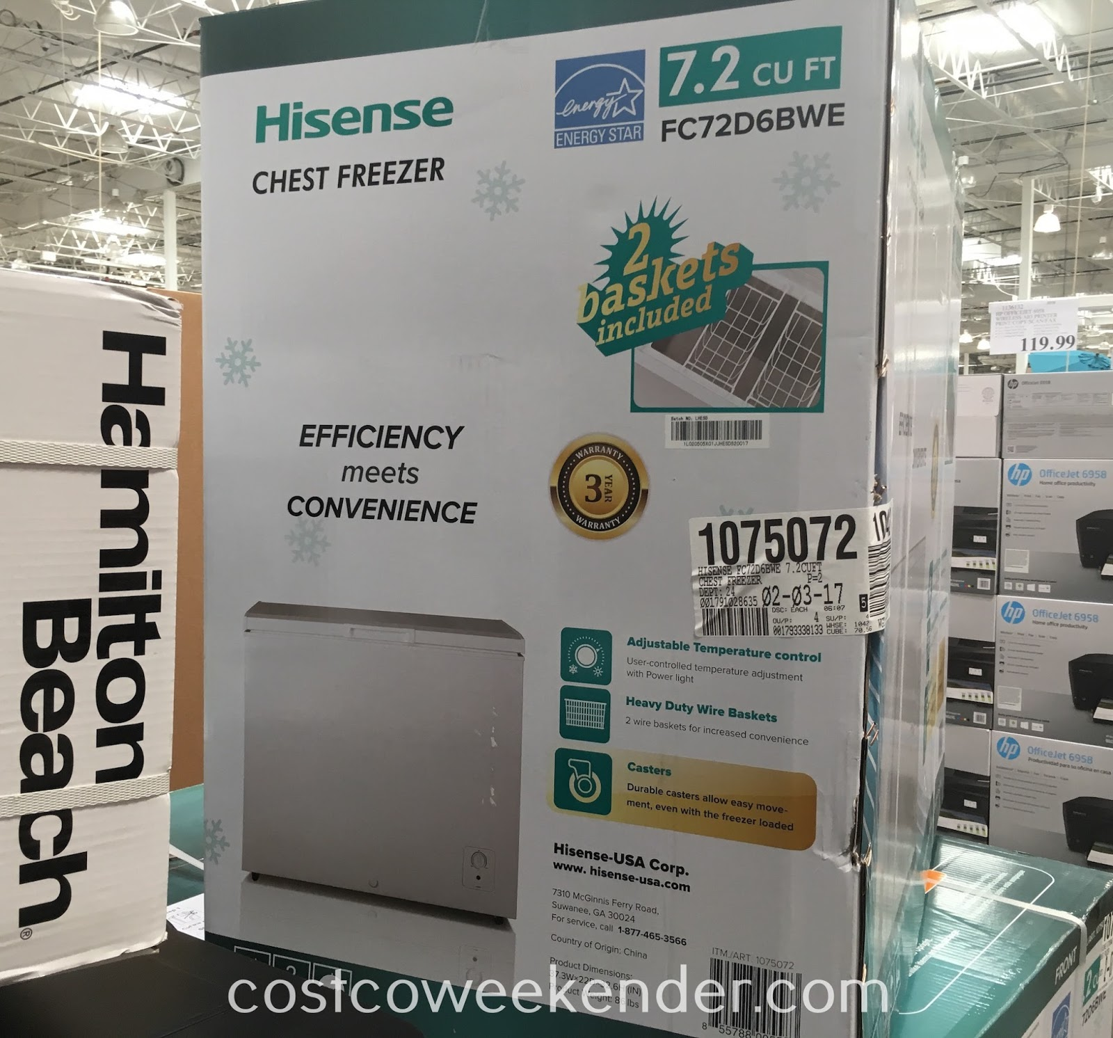 Store and prevent food from going bad with the Hisense FC72D6BWE Chest Freezer