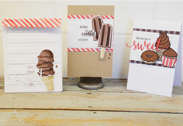 Sunny Studio Stamps: Two Scoops, Perfect Popsicles & Sweet Shoppe cards by Laurel Seabrook
