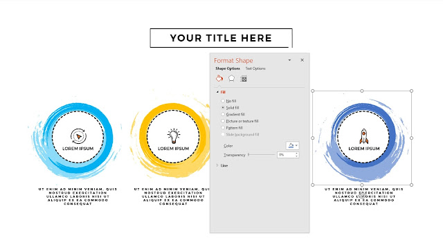 Fully Editable Infographic Circular Brush Style Banners in PowerPoint Presentation