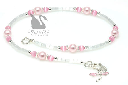 Crystal Pink Pearl Dragonfly Charm Beaded Anklet (A105)