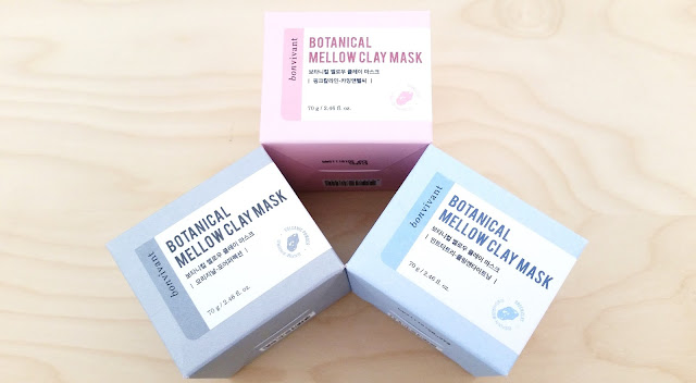 Bonvivant Botanical Mellow Clay Masks: Hawaiian Pink, Jeju Volcanic, and Mint Tea Tree.