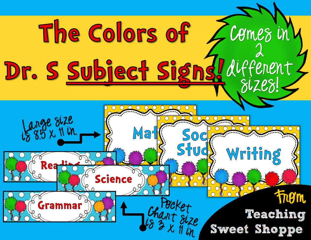 The Teaching Sweet Shoppe The Colors Of Dr Seuss