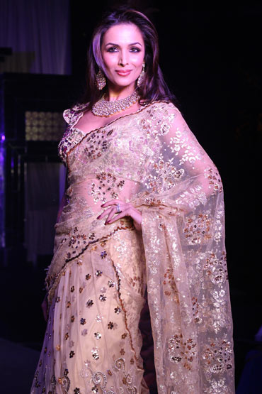 Malaika Arora Gold Net Designer Lehenga Choli