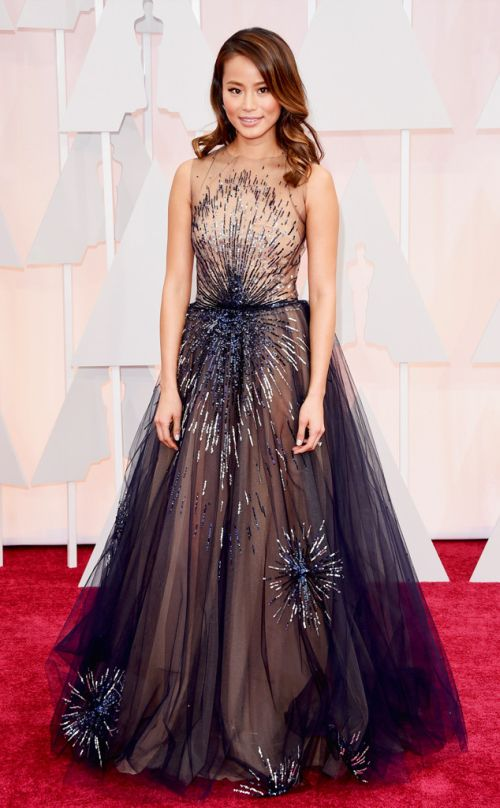 Jamie Chung in Yanina Couture at the Academy Awards 2015
