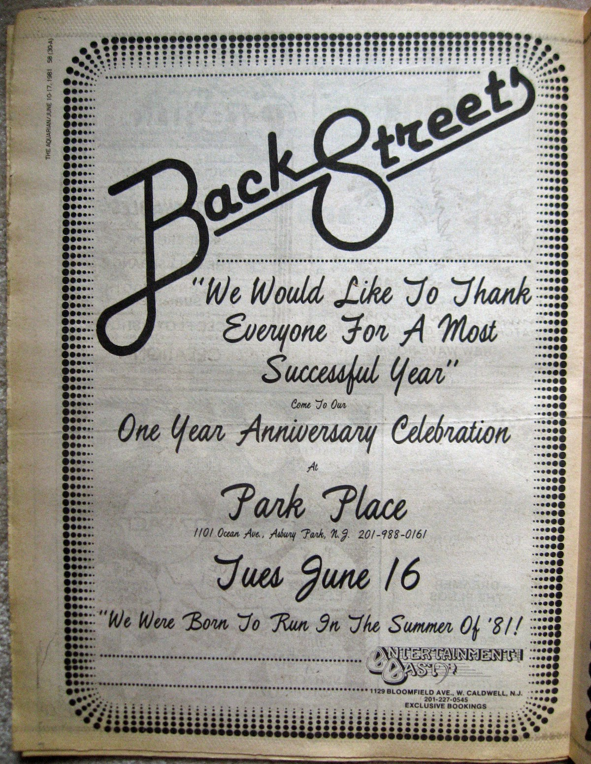 Backstreets full page thank you 1981