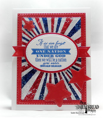 Our Daily Bread Designs Stamp Set: Justice for All, Paper Collection: Stars and Stripes, Custom Dies: Sparkling Stars, Double Stitched Stars, Ovals, Stitched Ovals, Pennant Flags, Double Stitched Rectangles