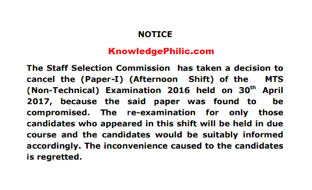 SSC MTS Second shift paper (30-04-2017) cancelled