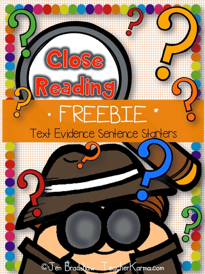FREE:  Close Reading Strategy and how to use sentence starters to promote text evidence.  TeacherKarma.com