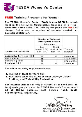 FREE Training Programs for Women at TESDA Women's Center