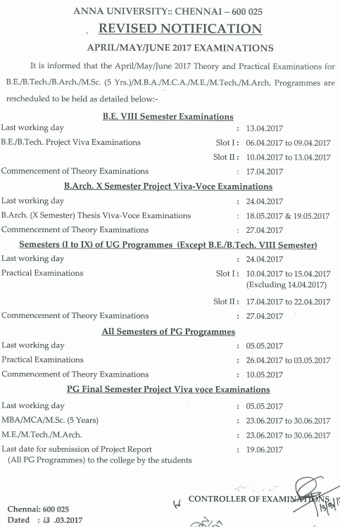 Anna University November December 2017 Practical Examination Last Working Day Exam Starting Schedule Revised