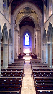 Balcony view of Bryn Athyn Cathedral center isle