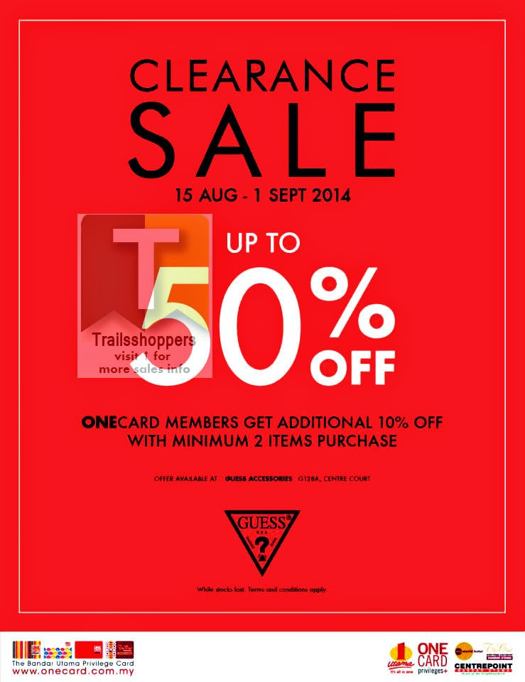 orientale Brigantino In piedi  GUESS Clearance Sale END 1 SEPT 2014 - Trailsshoppers Online Malaysia Sale  Shopping Warehouse Discount