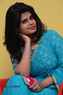 Telugu Actress Alekhya Stills in Green Saree at Swachh Hyderabad Cricket Press Meet  0072.JPG