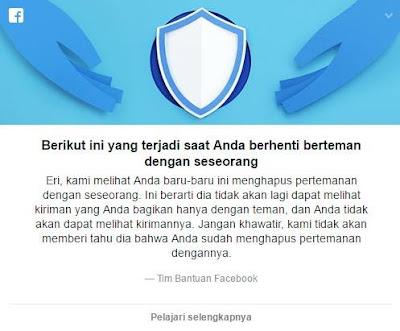 Ilustrasi notifikasi dari facebook ketika mengapus pertemanan.