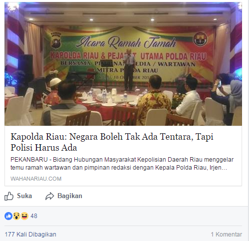Kapolda Riau: Negara Boleh Tak Ada Tentara, Tapi Polisi Harus Ada