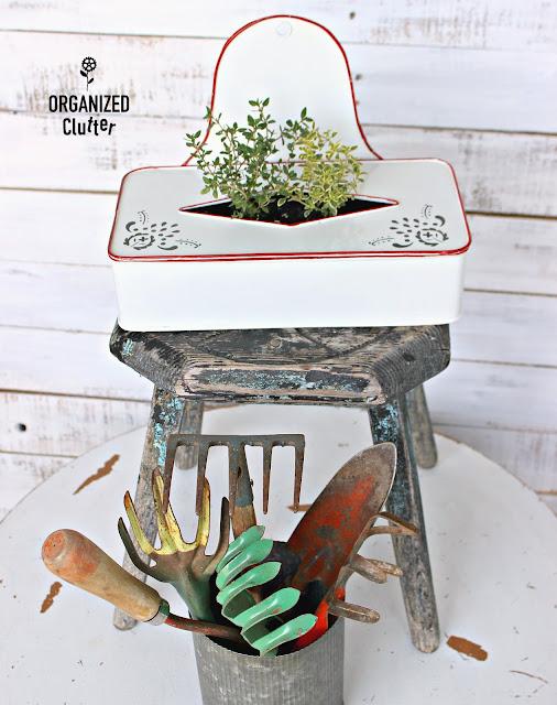 Tissue Holder Repurposed Herb Planter organizedclutter.net