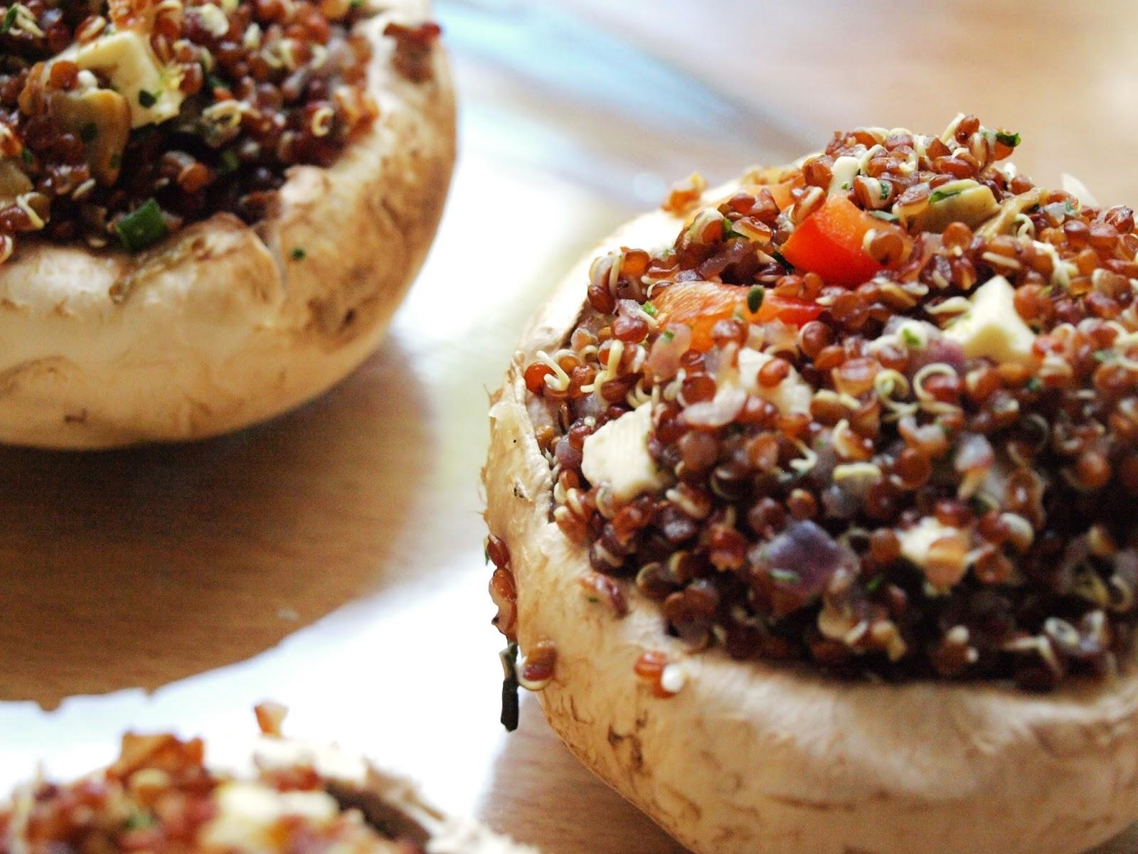 grill mit stil gegrillte champignons mit quinoaf llung papilio maackii. Black Bedroom Furniture Sets. Home Design Ideas