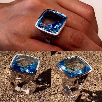 anillo de plata y topacio azul cuadrado